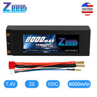 Zeee 8000mAh 100C 7.4V 2S LiPo Battery Hardcase Dean Plug for RC Car Truck Buggy