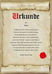 Urkunde ALTER SACK Club der alten Säcke personalisiert Geburtstag Geschenk Karte