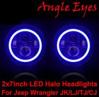 2x7 Inch Led Headlights Blue Halo Angel Eyes For Jeep Wrangler JK/LJ/TJ/CJD