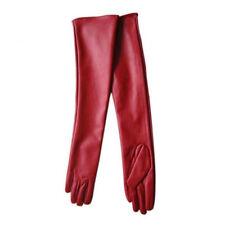 Womens Vintage Long Leather Gloves Full Finger Hand Winter Elbow Opera Gloves
