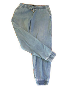 Ladies F&F Blue Jeggings U.K. 12 Elasticated Waist And Cuffs With Ties T2122
