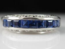 18K Sapphire Diamond Ring Anniversary Band White Gold Fine Channel Square Blue