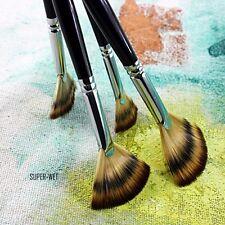 6 Set Dimensione Fan Brush Pen per olio acrilico idropittura artista maniglia di legno NUOVO