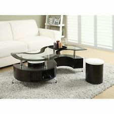 3 Piece Brown Modern Glass S-Top Coffee Table Occasional Set Home Furniture Den