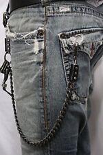 Men Black Metal Wallet Chain Jeans Biker Horn Links Strong Heavy Duty Punk Rock