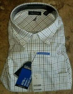 Mens Nautica Performance Dress Shirt 16 L 17 XL 32/33 White Plaid Blue