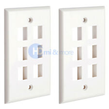 Wall Plate 6 Hole Port Jack Keystone Audio Video Wallplate White - LOT of 2