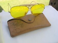 VINTAGE BAUSCH & LOMB RAY BAN YELLOW BULLET HOLE SHOOTERS AVIATOR SUNGLASSES