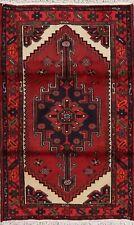 Geometric Tribal Red Hamedan Area Rug Hand-Knotted Oriental Foyer Carpet 3x5