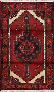 Geometric Tribal Red Hamedan Area Rug Hand-Knotted Oriental Foyer Carpet 3x5