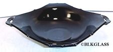 Paden City Black Glass Flaring Square Centerpiece Bowl Rim Detail