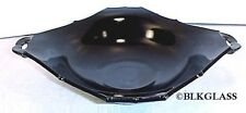 Paden City Black Glass Flaring Square Centerpiece Bowl 9 Inch Rim Detail