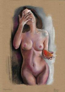 original drawing A3 37DO art samovar modern female nude pastel signed 2020