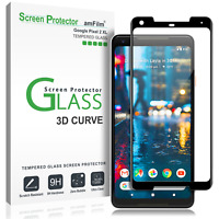 Google Pixel 2 XL amFilm Full Cover Tempered Glass Screen Protector (Black)