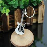 Brand New Alloy Silver Guitar Shape Keychain  Fashion Jewelry Key Chains Ring au