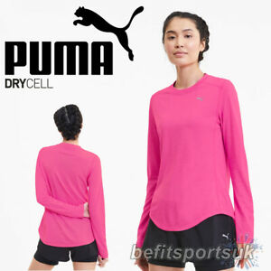 PUMA WOMENS LONG SLEEVE TOP IGNITE DRY CELL FIT RUNNING GYM FITNESS PINK S M