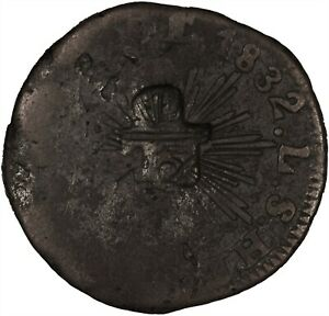 """Mexico (Sonora) 1832 1/4 Real  CTSP """"1/16"""" Real TONED VG/VF VERY SCARCE COIN!"""