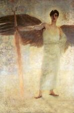 Stunning Oil painting Strong male Angel with the Flaming Sword on canvas