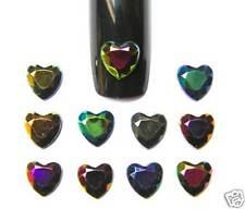 10 Bijoux Strass d'ongle COEUR Noir Irisé 6 mm Nail Art