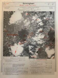 Original ww2 German Luftwaffe aircrew battle off Britain target map Birmingham