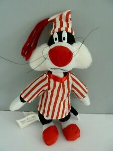 P4- Doudou Peluche Looney Tunes Sylvestre chat Grosminet pyjama rouge 27cms TBE