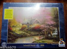Schmidt Jigsaw Puzzle Stepping Stone Cottage Thomas Kinkade 1000 Piece Glows