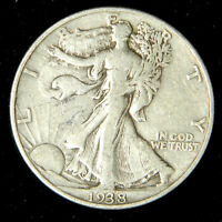 1938 Walking Liberty Half Dollar , Very Fine or Better , 90% Silver US Coin