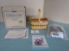 Longaberger 1996 Collector's Club miniature Jw Market Basket Set complete, New