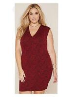 EUC Forever 21 Retro Goth Red Black Floral Lace Print Bodycon Dress Plus Size XL