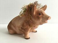 Vintage Flower Pig Figurine