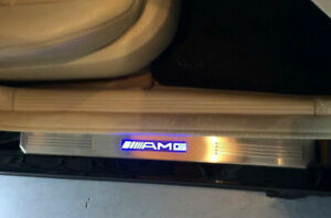 Fits Mercedes-Benz AMG W210 W211 Blue LED Light Door Sill Scuff Plate Guards