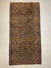 Vintage Turkish Kilim Rug 300x149 cm shabby wool Kelim Large Black Pink Beige