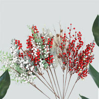 Christmas Red Berry Holly Branch Artificial Flower Home Wedding Party Decor