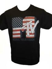 New Classic MTV US Flag Patriotic Adult Mens Size S Small Black Shirt