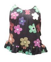 Size 18/20 long strappy swing top plus size curve vest cami black/colour flowers