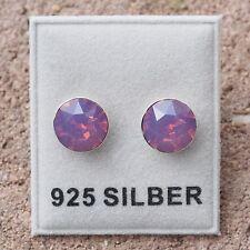 NEU 925 Silber OHRSTECKER 8mm SWAROVSKI STEINE cyclamen opal/lila-rosa OHRRINGE
