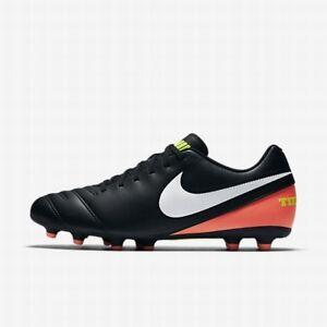 NEW Women's Nike Tiempo Rio 3 FG Soccer Cleats/ Black/Whit 819233-018 Size 12
