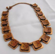 MATISSE SIGNED ART DECO MODERN BRONZE COPPER GLAZED NECKLACE