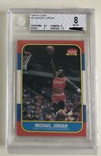 1986 Fleer Michael Jordan Rookie #57 RC Graded PSA BGS 8 NM MINT Two 9 Sub Grade