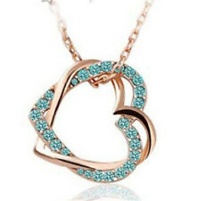 Women Valentine's Gift Double Heart Crystal Rhinestone Chain Pendant Necklace D0