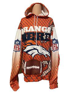 Vintage Style Men's Denver Broncos All Over Print Sweatshirt Size XL POLYESTER