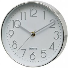 Silver Silent Sweep Battery Wall Clock By Unity, Cambourne Range 20 cm Diameter