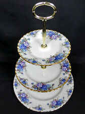 MOONLIGHT ROSE 3-TIER CAKE STAND, USED CONDITION, 1987, ENGLAND, ROYAL ALBERT