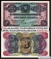 "2 RARE PORTUGUESE MOZAMBIQUE GEMS! JUMBO 1934 ""RAINBOW"" 5 ESTERLINAS + 1933 20C!"