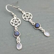 Hook Moonstone Round Fine Earrings