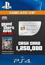 GTA V 5 ONLINE WHALE SHARK CASH CARD (PS4) CODE $1.25M $1,250,000 GTA MONEY