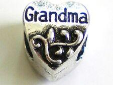 Grandma Heart Tibetan Silver plated charm bead with velvet gift bag