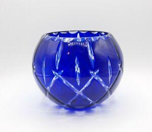 "Vintage Cobalt Blue Cut to Clear Glass Rose Bowl 5.5"" high"