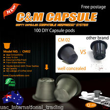 100 Empty Coffee Capsules Nespresso Espresso Machine Compatible DIY Pods