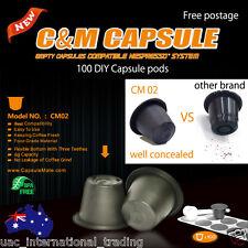 100 Empty Coffee Capsules Nespresso Espresso Machine Compatible DIY Pods